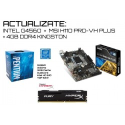 KIT ACTUALIZACIÓN : M.B. MSI H110M PRO-VH PLUS + CPU INTEL G4560 + MEM 4GB DDR4 KINGSTON
