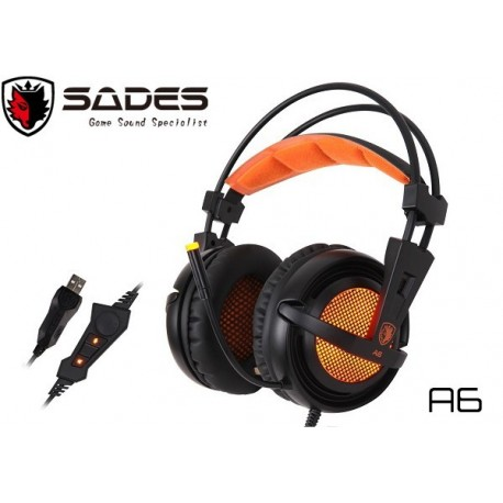 AURICULARES GAMER SADES A6 (USB) (BLACK/ORANGE)