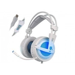 AURICULARES GAMER SADES A6 (USB) (WHITE/BLUE)