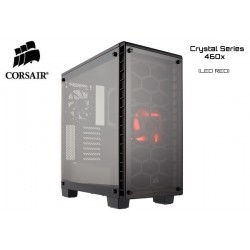 GABINETE CORSAIR CRYSTAL SERIES 460X (1xFAN RED LED) S/FUENTE