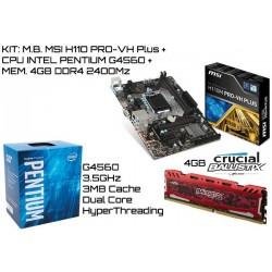 KIT: M.B. MSI H110M PRO-VH PLUS + CPU INTEL PENTIUM G4560 + 4GB DDR4 CRUCIAL BALLISTIX 2400MHz