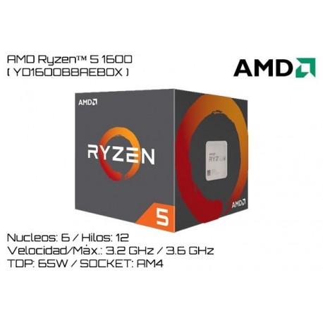 AMD RYZEN 5 1600 3.2GHz (3.6GHz TURBO) 6 NUCLEOS / 12 HILOS TPD 65W (AM4)