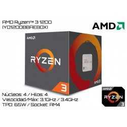 AMD RYZEN 3 1200 3.1GHz (3.4GHz TURBO) 4 NUCLEOS / 4 HILOS TPD 65W (AM4)