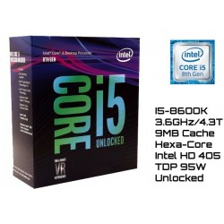 3.6GHz INTEL I5-8600K 9MB CACHE (LGA1151) 8VA GEN (COFFE LAKE) (UNLOCKED)