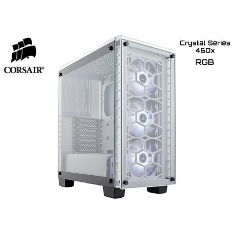 GABINETE CORSAIR CRYSTAL SERIES 460X RGB (WHITE)