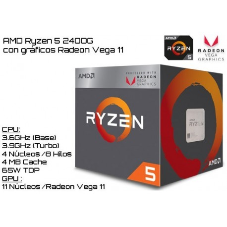 AMD RYZEN 5 2400G 3.6GHz (3.9GHz TURBO) QUAD CORE + RADEON VEGA 11 (TDP 65W) (AM4)