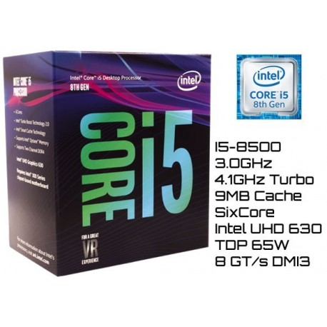 3.0GHz INTEL I5-8500 9MB CACHE (LGA1151) 8VA GEN (COFFE LAKE)