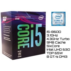 3.1GHz INTEL I5-8600 9MB CACHE (LGA1151) 8VA GEN (COFFE LAKE)