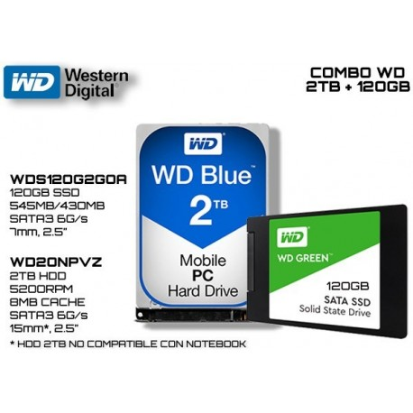 "COMBO WD: HDD BLUE 2TB 2.5"" 15mm (WD20NPVZ) + SSD GREEN 120GB (WDS120G2G0A)"