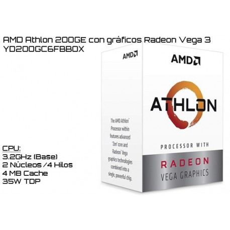AMD ATHLON 200GE 3.2GHz DUAL CORE + RADEON VEGA 3 (TDP 35W) (AM4)