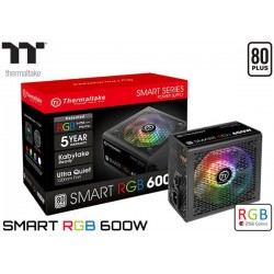 FUENTE DE PODER THERMALTAKE SMART 600W RGB 80P WHITE (PS-SPR-0600NHFAWU-1)