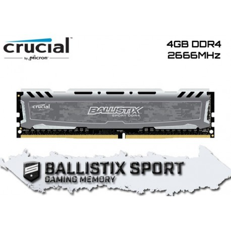 4GB DDR4 2666MHZ CRUCIAL BALLISTIX SPORT LT (GRAY) (BLS4G4D26BFSB)