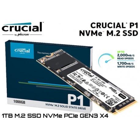 1TB M.2 SSD NVMe PCIE GEN3 X4 CRUCIAL P1 (CT1000P1SSD8) (2.000MB/1.700MB)