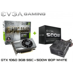 KIT GAMING EVGA GTX 1060 3GB + FTE 500W 80P