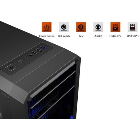 GABINETE GAMEMAX G561-BLACK (BLACK/BLUE FAN)