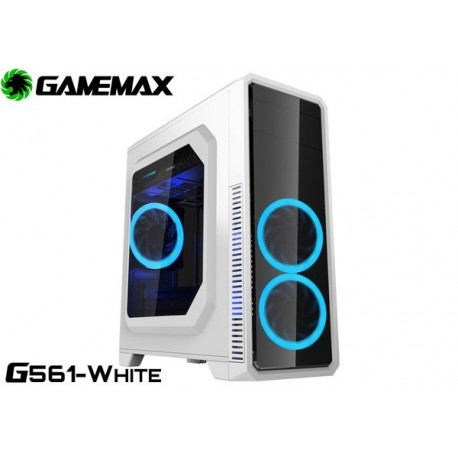 GABINETE GAMEMAX G561-WHITE (WHITE/BLUE FAN)