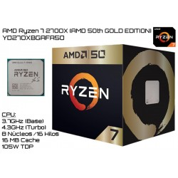 AMD RYZEN 7 2700X (AMD 50th GOLD EDITION) 3.7GHz (4.3GHz TURBO) OCTA CORE (TDP 105W) (AM4)