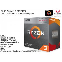 AMD RYZEN 3 3200G 3.6GHz (4GHz TURBO) QUAD CORE + RADEON VEGA 8 (TDP 65W) (AM4)