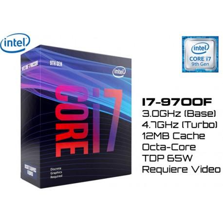 3.0GHz INTEL I7-9700F 12MB CACHE (LGA1151) 9NA GEN (COFFE LAKE) (REQUIERE VIDEO)