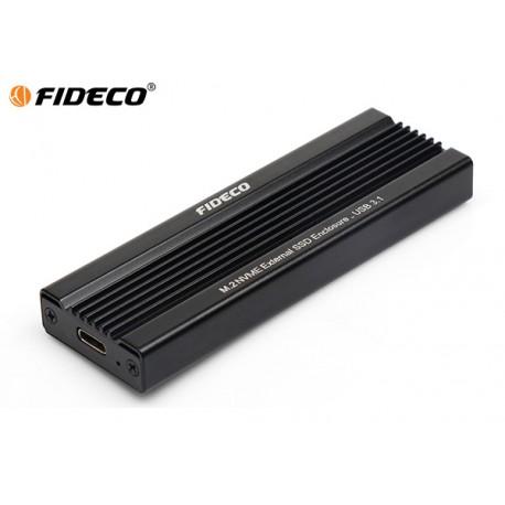 ENCLOSURE FIDECO M.2 NVME EXTERNAL SSD USB C TO USB3.1 (BLACK)