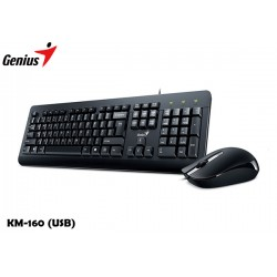 KIT GENIUS TECLADO Y MOUSE KM-160 (USB) BLACK