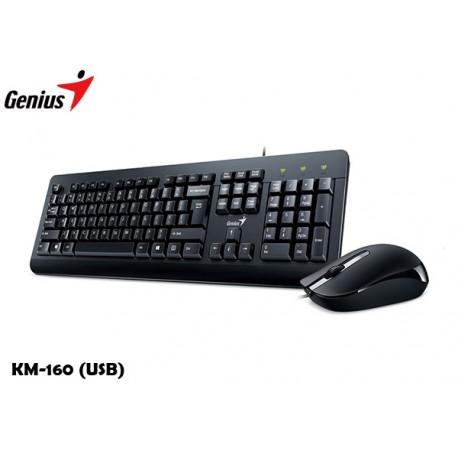 KIT GENIUS TECLADO Y MOUSE KM-160 (USB) BLACK