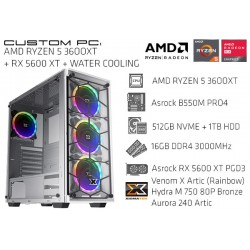 CustomPC (AMD Ryzen 5 3600XT): 16GB, 512GB SSD NVME, 1TB HDD, RX 5600 XT, WATER COOLING
