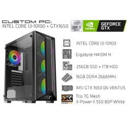 CustomPC (INTEL Core I3-10100): 16GB, 256GB SSD, 1TB HDD, GTX 1650 D6