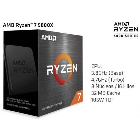 AMD RYZEN 7 5800X 3.8GHz (4.6GHz TURBO) OCTA CORE (TDP 105W) (AM4)