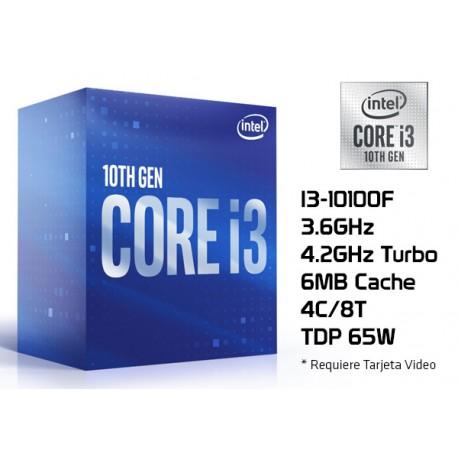 3.6GHz INTEL I3-10100F (4.3GHz TURBO, 4C/8T, 6MB CACHE, 65W, LGA1200) 10MA GENERACION