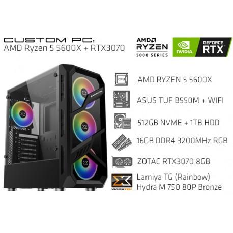 CustomPC (AMD Ryzen 5 5600X): 16GB, 512GB SSD NVME, 1TB HDD, RTX 3070 8GB