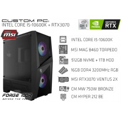 CustomPC (INTEL CORE I5-10600K): 16GB, 512GB SSD NVME, 1TB HDD, RTX 3070 8GB