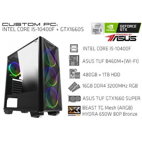 CustomPC (INTEL Core I5-10400F): 16GB, 480GB SSD, 1TB HDD, GTX 1660 SUPER