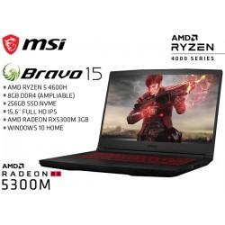 NOTEBOOK GAMER MSI BRAVO 15 (AMD RYZEN 5 4600H, 8GB, 256GB NVME, RADEON 5300M