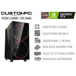 CustomPC (AMD RYZEN 5 5600X): 16GB, 480GB SSD, 1TB HDD, GTX 1660 SUPER
