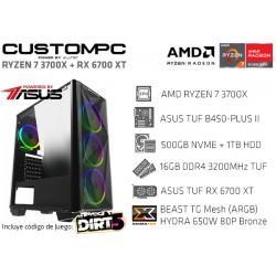 CUSTOMPC (AMD RYZEN 7 3700X): 16GB, 512GB NVME, 1TB HDD, RADEON RX 6700 XT