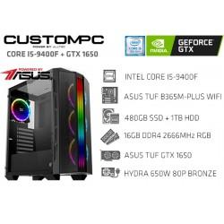 CUSTOMPC (INTEL CORE I5-9400F): 16GB, 480GB SSD, 1TB, TUF GTX 1650