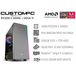 CustomPC (AMD Ryzen 5 3400G): 16GB, 256GB SSD, 1TB HDD, AMD Radeon™ Vega 11 Graphics
