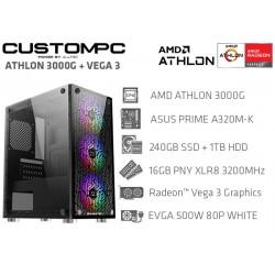 CUSTOMPC (AMD ATHLON 3000G): 16GB, 240GB SSD, 1TB HDD, AMD Radeon™ Vega 3 Graphics