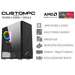 CustomPC (AMD Ryzen 3 3200G): 16GB, 480GB SSD, AMD Radeon™ Vega 8 Graphics
