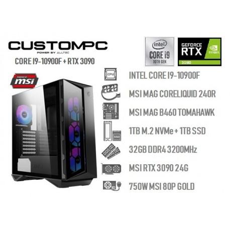 CUSTOMPC (INTEL CORE i9-10900F): 32GB, 1TB NVME, 1TB SSD, RTX 3090 24GB VENTUS 3X