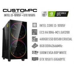 CUSTOMPC (INTEL Core I3-10105F): 8GB, 480GB SSD, GTX 1050 Ti 4GB